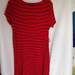 Torrid red and blue faux wrap knit dress